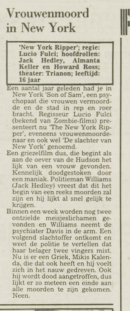 De Slachter van New York Leidsch Dagblad Dec16 1983